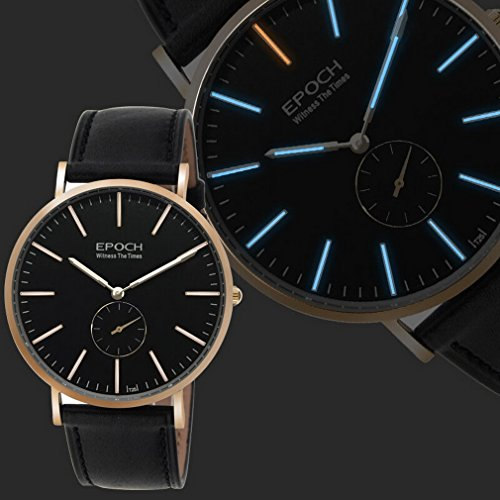 EPOCH 6025G waterproof 50m tritium blue luminous ultrathin case leather strap business men quartz wrist watch - Rosegold by EPOCH (Image #2)