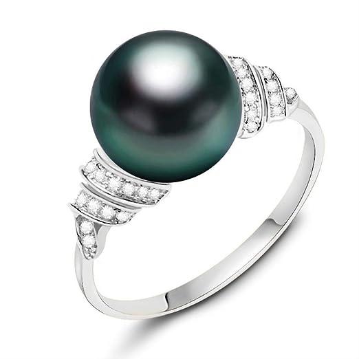 Anillo de Perlas de Agua Salada de Oro Macizo de 18 k Anillo de Perlas Negras de 11 mm a 12 mm Anillo de Bodas de Perlas de Tahití