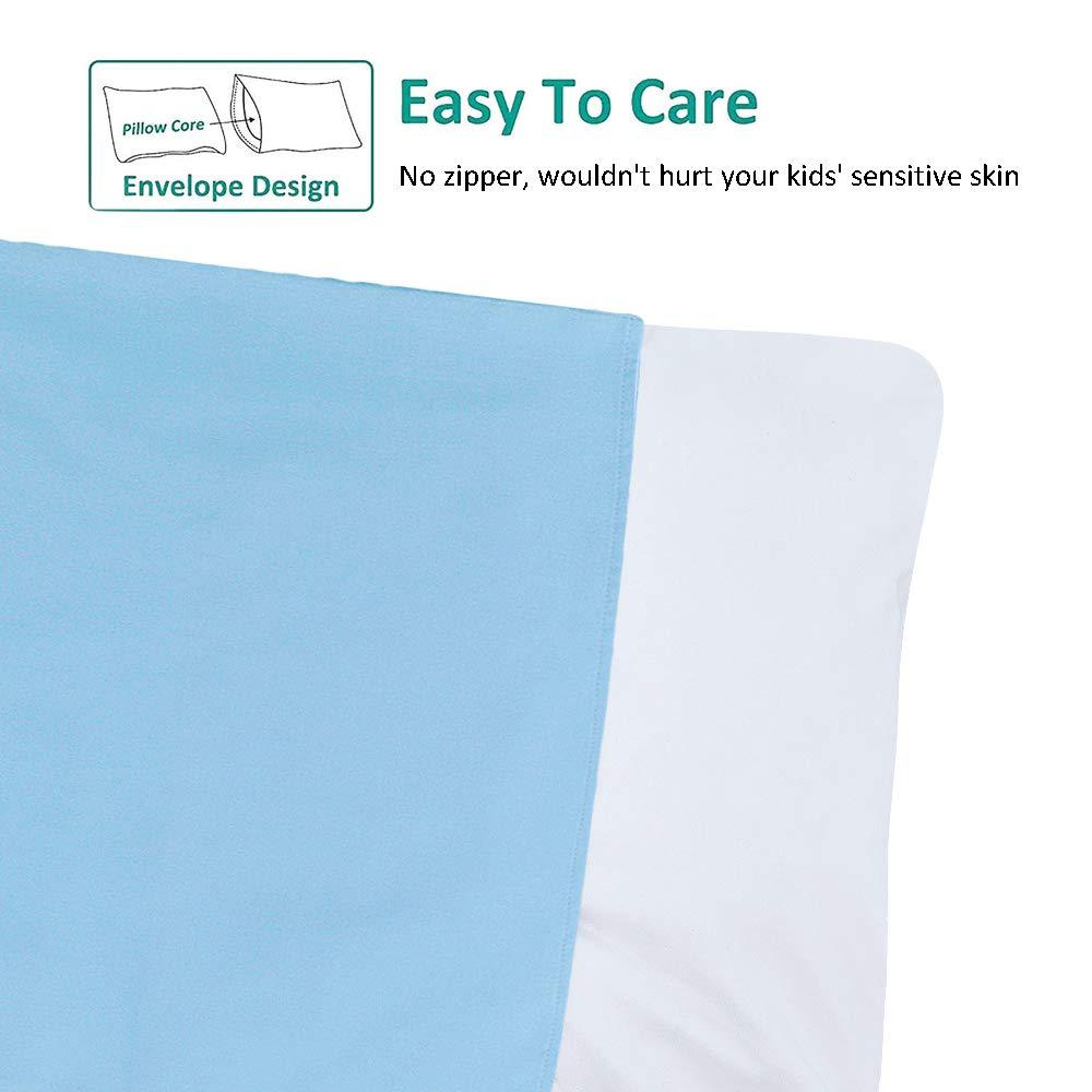 Set of 2 Deep Blue 20x14 Organic Cotton Mini Travel Pillowcase Long Staple Cotton Toddler Pillowcase