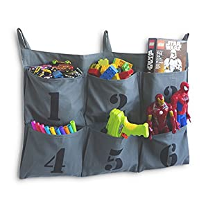 WALLNITURE Hanging Kids Toys Crafts Tech Organizer with 6 Numbered Pockets Canvas Gray