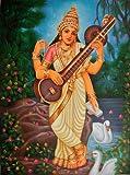 Goddess Saraswati - Oil on Canvas - Artist: Anup Gomay