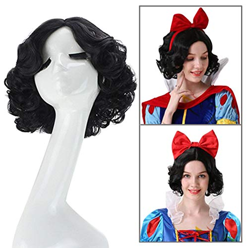 Cexin Women's Princess Snow White Black Short Curly Cosplay Wig with Cap Halloween Costume Wigs Anime Party Accessory