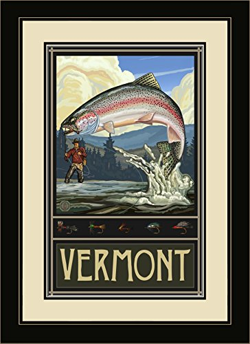 Northwest Art Mall PAL-1461 MFGDM RTFH Vermont Rainbow Trout Fisherman Hills Framed Wall Art by Artist Paul A. Lanquist, 13 by - North Hills Mall