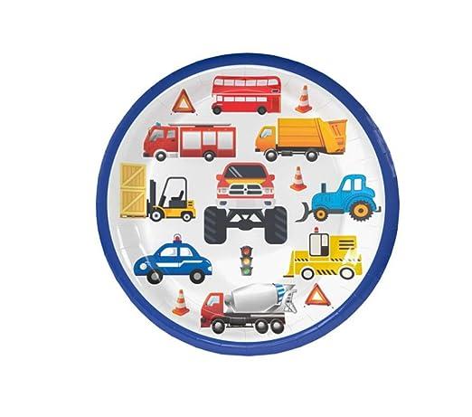 SDRTYHJ 12PCS 7in Cartoon Car Party Vajilla desechable Set ...