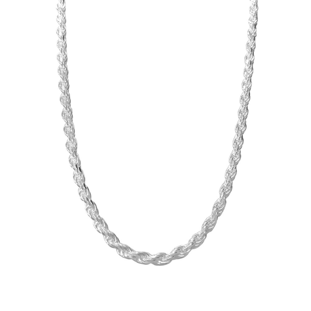 Sterling Silver Rope Chain Necklace Diamond-Cut Italian Made - 4.0mm - 26 inch