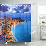 VaryHome Shower Curtain Honolulu Hawaii Skyline of Diamond Head Volcano Including the Hotels and Buildings on Waikiki Beach Waterproof Polyester Fabric 72 x 72 Inches Set with Hooks