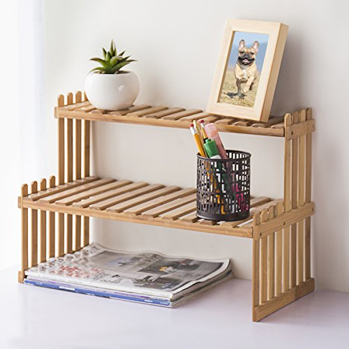 MyGift Natural Bamboo Table Top Plant Stand, 2-Tier Desktop Shelf Rack, Brown by MyGift