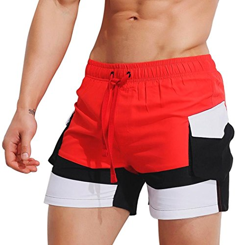 iZHH Mens Breathable Swim Trunks Pants Swimwear Shorts Slim Swimsuit Briefs(Red 1,34)