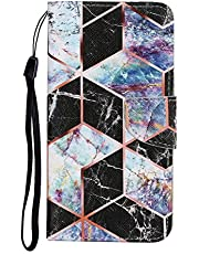 Mylne for Samsung Galaxy A10S Case,Colorful Pattern Folding Stand PU Leather Wallet Flip Cover with TPU Inner Bumper Card Slots Magnetic Closure,Black Marble