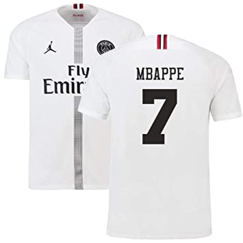 newest bbb09 d435d 2018-19 PSG Third Football Soccer T-Shirt White (Kylian ...