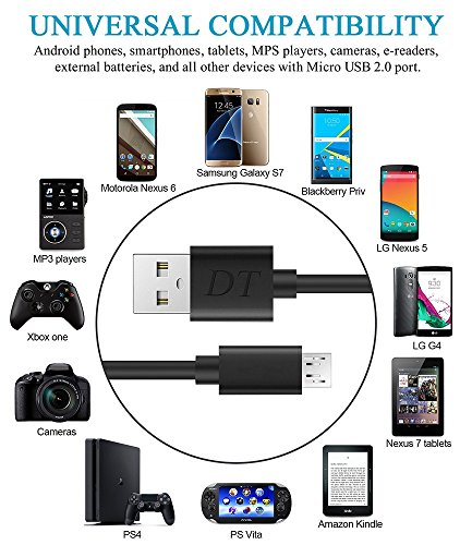 PS4 Micro USB Cable, 15ft/5M High Speed Playstation 4 USB Charging Cables, Metal Male For Android games tablet computer MP3 player and more devices