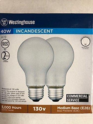 60ピース(30 x 2パック)Westinghouse 04101 40 A/F/VR/130 40 W a19 130 V Frosted Mediumベースランプ B07FFGRCMG