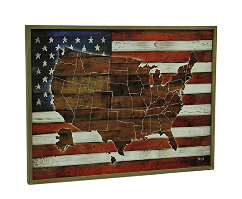 (Zeckos American Blend Superimposed US Map and Flag Wooden Wall Hanging)
