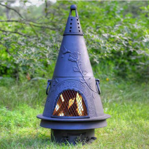 QBC Bundled Blue Rooster Garden Wood Burning Chiminea ALCH009CH (44 inch H x 22 inch W) Charcoal Color – Plus Free QBC Metal Chiminea eGuide