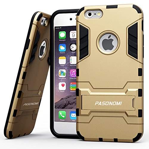 iPhone 6 Case, Pasonomi® [Heavy Duty] [Shock-Absorption] [Kickstand Feature] Hybrid Dual Layer Armor Defender Full Body Protective Case Cover for iPhone 6 4.7Inch (Golden)
