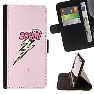 """For Samsung Galaxy Note 5 5th N9200,S-type Jolt eléctrico Rayo Rosa del texto"""" - Dibujo PU billetera de cuero Funda Case Caso de la piel de la bolsa protectora"""