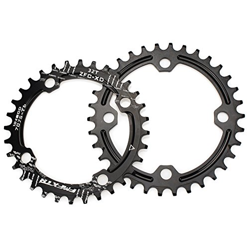 32T 34T 36T 38T Chainring 104 BCD FOMTOR Narrow Wide Chainring with Four Chainring Bolts for Road Bike, Mountain Bike, BMX MTB Bike (Black)