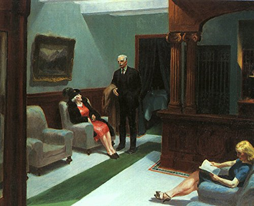 Hopper Edward Hotel Lobby 100% Hand Painted Replica Oil Paintings 30X40 Inch by B-Arts