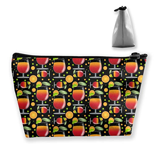 Makeup Bag Cosmetic Cocktail Leaf Orange Portable Cosmetic Bag Mobile Trapezoidal Storage Bag Travel Bags with Zipper