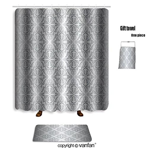 vanfan bath sets with Polyester rugs and shower curtain Silver luxury vintage wallpaper shower curtains sets bathroom 54 x 78 inches&23.6 x 15.7 inches(Free 1 towel and 12 hooks)