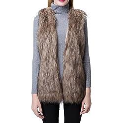 Escalier Women Faux Fur Vest Waistcoat Sleeveless Jacket Khaki