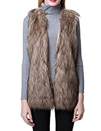 Escalier Women's Winter Sleeveless Faux Fur Leather Vests Outwear