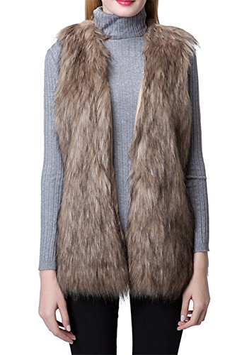 Escalier Women Faux Fur Vest Waistcoat Sleeveless Jacket Khaki