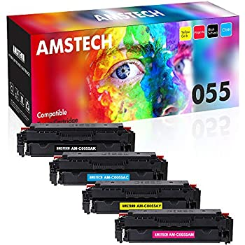 Image of Amstech Compatible Toner Cartridge Replacement for Canon 055 055H CRG-055 Canon Color imageCLASS MF743Cdw MF741Cdw MF746Cdw MF745Cdw MF740 LBP664Cdw LBP660C No Chip (Black Cyan Magenta Yellow, 4-Pack) Laser Printer Drums & Toner