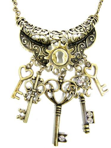 Magic Metal Skeleton Keys Necklace Antique Victorian Clockwork Lock NC49 Steampunk Charm Pendant