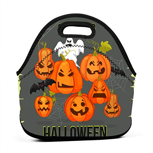 Kids Lunch Box-October 31. Halloween Banner Lunch Bags for Women-Mini Soft Lunch Tote Bag-Lightweight, Reusable Lunchbox for Work and -