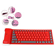 ESupFly Portable Waterproof Wireless Bluetooth Silicone Flexible Folding Foldable Keyboard for IOS, Android, Windows (Red)