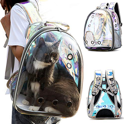C&W Innovative Traveler Bubble Backpack Pet Carriers for Cats and Dogs Polarized Transparency Anti-Glare & UV Protection Waterproof Rainbow Color -