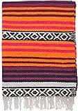 El Paso Designs Peyote Hippie Blanket Classic Mexican Style Falsa Stripe Pattern in Vivid Peyote Colors. Throw, Bed, Tapestry, or Yoga Blanket. Hand Woven Acrylic, 57'' x 74'' (Peyote 7)