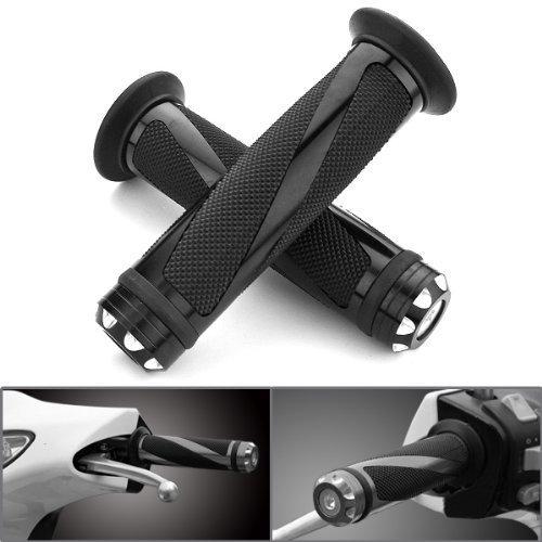 Astra Depot 2X Universal Jet Black Motorcycle Grips with Billet Aluminum Bar End Cap Plug Slider For (Billet Aluminum Bar)