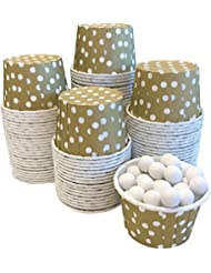 Candy Nut Mini Baking Paper Treat Cups - Gold with White Dots - Bulk 100 Pack