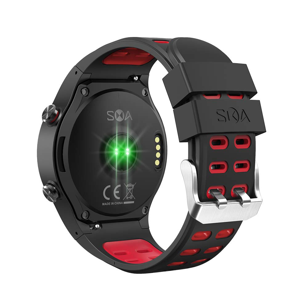 SMA-M1 Smart Watch Activity Tracker Fitness Watch for Men Heart Rate Monitor Watches Sleep Monitoring Smartwatch (Red)