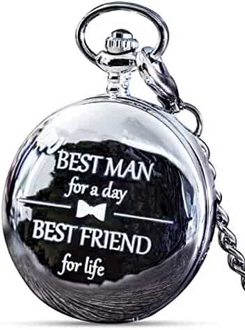 Best Man Gift for Wedding or Proposal - Engraved Best Man Pocket Watch - Perfect Accompainment to The Groomsmen Gifts Pocket Watch - Luxury Wedding Gift