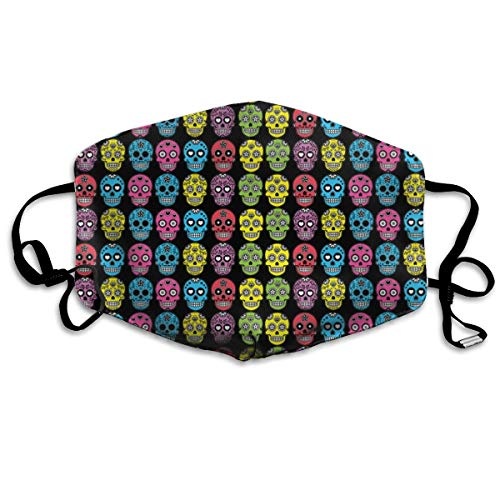 Mouth Mask Halloween Mexican Sugar Skull Earloop Face Masks - Adjustable Elastic Band for Skate Climbing, Anti Flu Anti-Dust Respirator, Half Face Mouth Mask/Cover ()