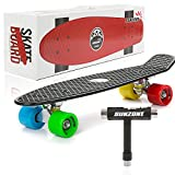 Sunzone Mini Complete Skateboard Plastic Cruiser Standard Skate Board Trucks 22 Inches (Black Board+Mix Wheel)