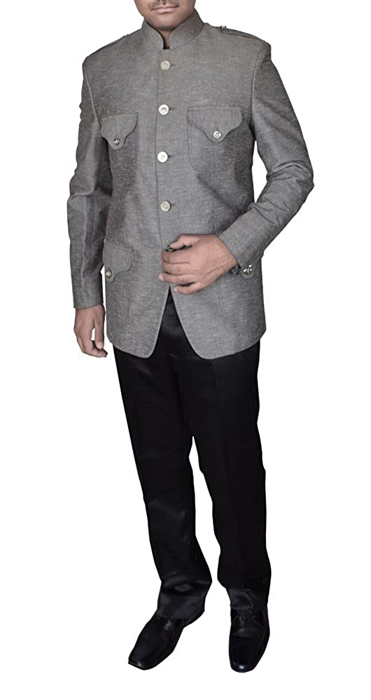 INMONARCH Mens Classic Fit 4 Flap Pockets Gray Nehru Jacket Ready to Ship TX10338Z