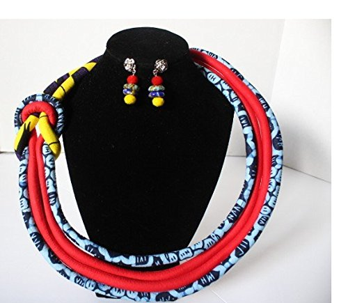 - Nova AfriquX- African Womens Four Knotted Rope Necklace w/earrings