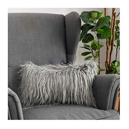 LANANAS Luxury Soft Plush Faux Fur Throw Pillow Covers for Couch Decorative Mongolian Fur Throw Pillow Covers, (Grey, 12X 20)
