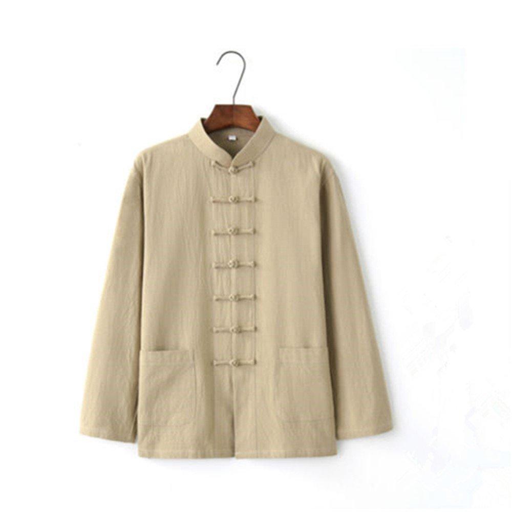 YOUMU Men's Cotton Linen Coat Shirt Jackets Chinese Kung Fu Traditional Casual Tops