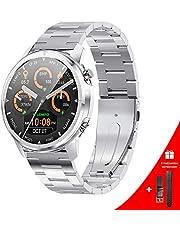 LEMFO Smartwatch voor heren, 1,3 inch full-touchscreen, smartwatch met hartslagmeter, bloeddruk- en bloedzuurstofmonitor, stappenteller en slaapmonitor, geschikt voor Android- en iOS-mobiele telefoons