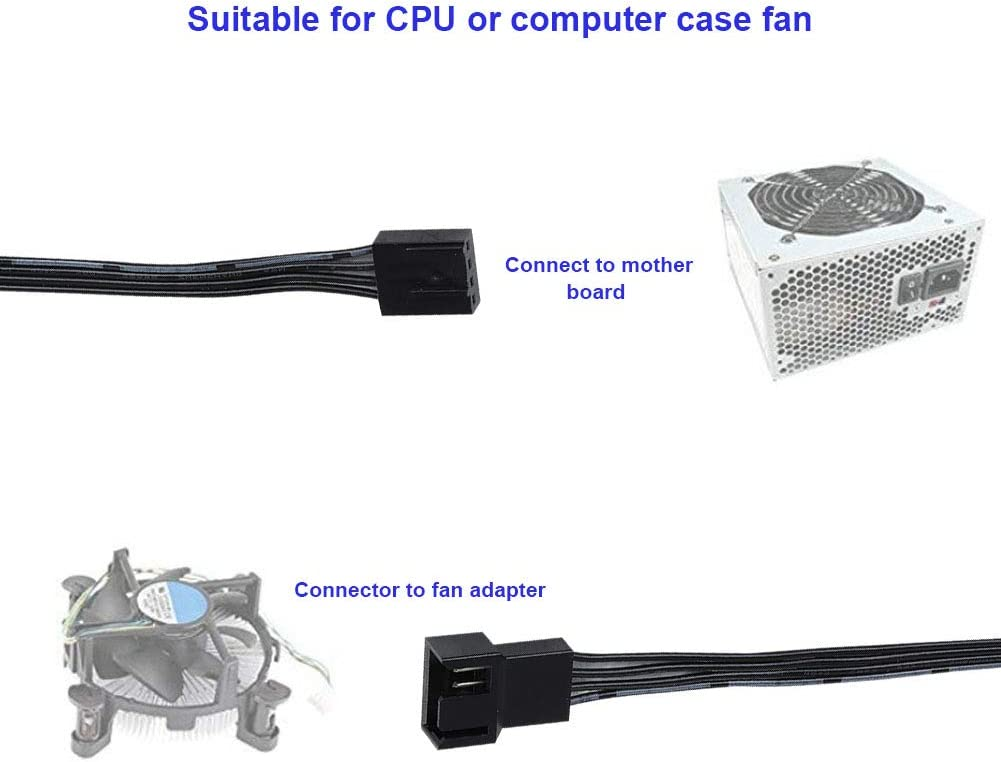 PWM Connector Case Fan Extension Power Cable for CPU or Computer Chassis Fan Pomya 5PCS 4PIN Fan Power Extension Cable