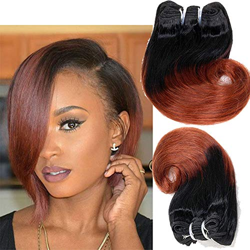 Eunice Hair ombre 350 Brazilian Body Wave Short Human Hair Bundles Weave,8inch Quick Weave Hairstyles Sew in Hair weft 1bundle (1b/350)