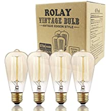 Edison Bulbs, Rolay 60w Dimmable Vintage Edison Light Bulbs for Pendant Lighting, Wall Sconces, Ceiling Fan and Chandeliers - 370 Lumens - 4 Pack