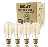 Vintage Edison Bulbs, Rolay 60w Dimmable Industrial Pendant Filament Light Bulbs with Vintage Antique Style Design for Pendant Lighting, Wall Sconces, Ceiling Fan and Chandeliers - 370 Lumens - 4 Pack