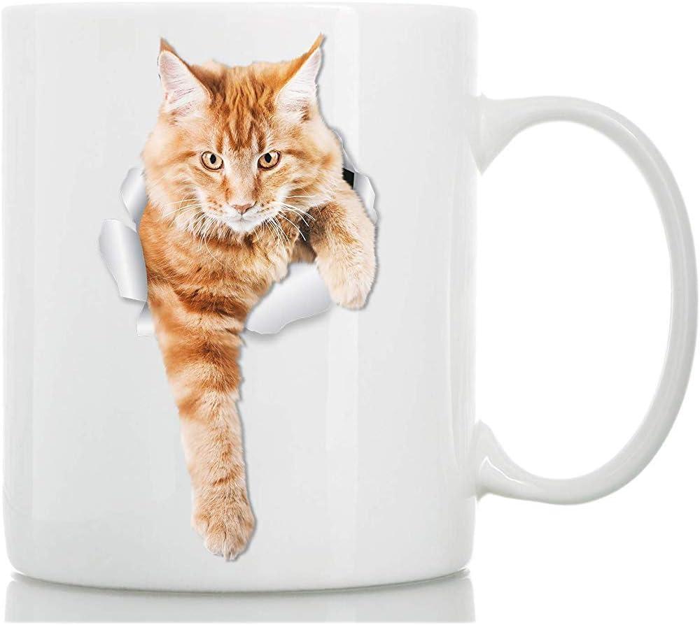 Escalada Ginger Cat Mug Tabby Orange Cat Taza de cerámica de ...