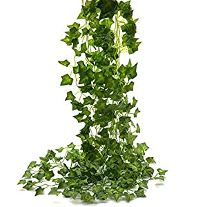 Beebel Ivy Leaves 85Ft 12 Strands Artificial Fake Leaves Hanging Vines Plant Leaves Garland Home Garden Poison Ivy Costume 33